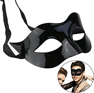 WINOMO Masquerade Mask Black Venetian Villain Costume Party Ball Halloween