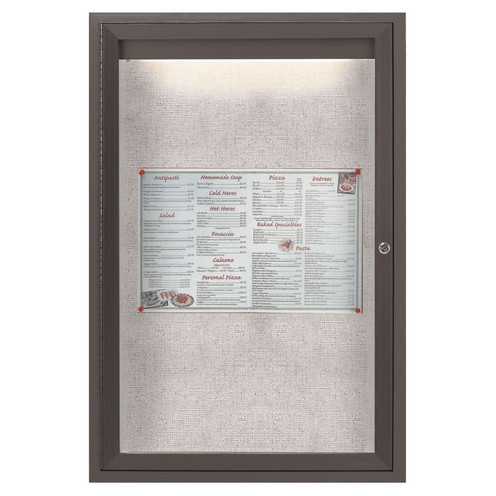 TableTop King LODCC3624RBA 36'' x 24'' Bronze Enclosed Aluminum Indoor / Outdoor Bulletin Board with LED Lighting