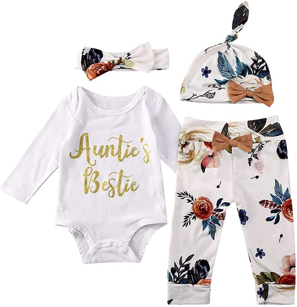Floral Pants Leggings Newborn Baby Girls Aunties Bestie Letter Rompers Top Headband Outfits 4Pcs Clothing Set Hat