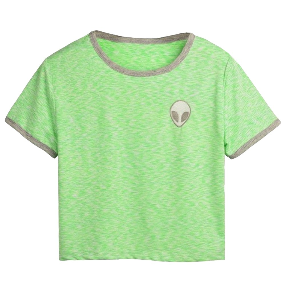 Women Teen Girl Purple Embroidery Alien Crop Tops T Shirt Cute Camisetas at Amazon Womens Clothing store: