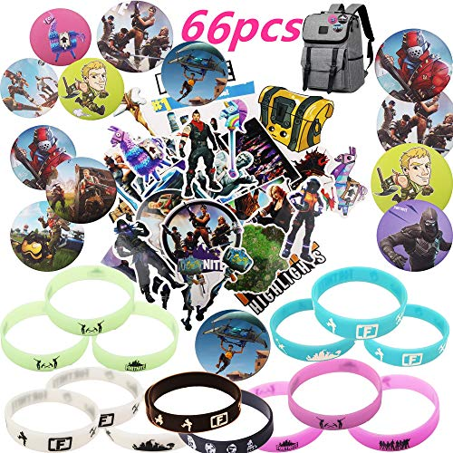 Fort nite Party Supplies 66pcs with Bracelets Kids Birthday Party Favors - GLOW IN THE DARK 14 Fort nite Badge Pins 12 Set of 40 Stickers Variety Waterproof Car Bicycle Luggage Computer Stickers Kids Adults