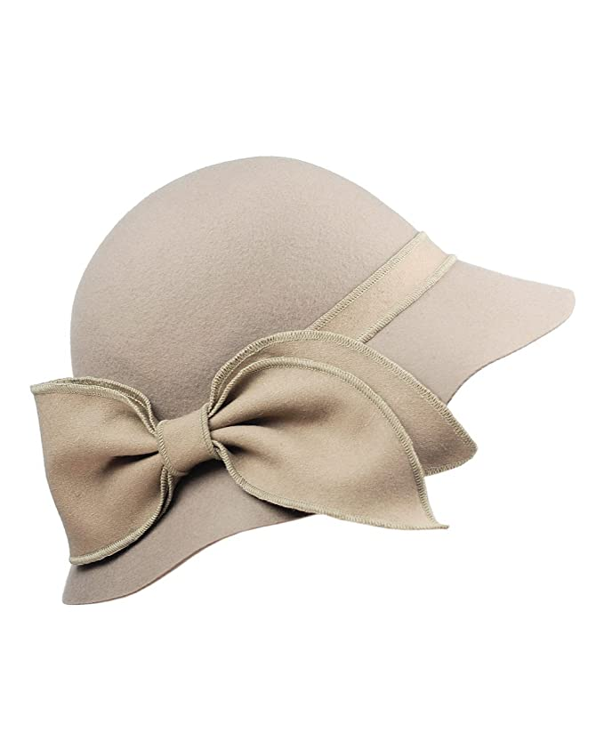 Retro Vintage Style Hats  Womens Enlarged Bow Wool Bell Cloche Bucket Hat $24.00 AT vintagedancer.com