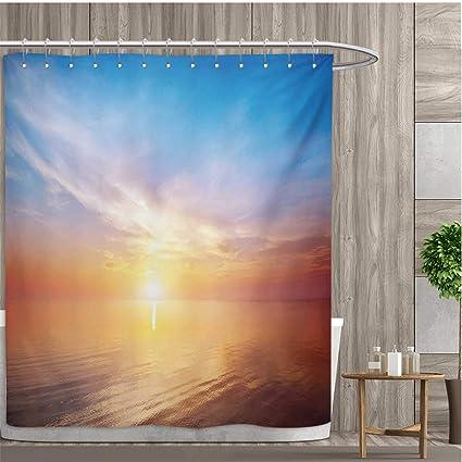 Smallfly Sunrise Shower Curtains 3D Digital Printing Magical Horizon Seascape Bay Ocean Coastal Charm Sky Tranquil