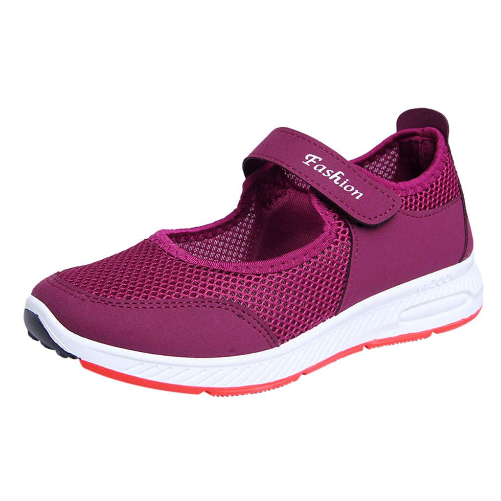 Mysky Fashion Women Breathable Mesh Comfortable Weight Casual Shoes Loafer Purple