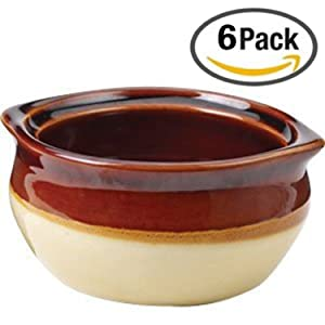 Appetizing Onion Soup Bowls Crock, Porcelain Set of 6 for Restaurant Serving, Dinner Meals. Ceramic Brown and Beige in Most Popular Size for Use 10 oz