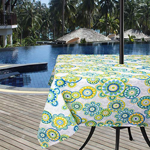 (Ebecede Outdoor Square Tablecloth 60 x 60 with Zipper Umbrella Hole, Boho Rustic Floral Printed Patio Square Tablecloth Cover for Garden Picnic Restaurant Party Decor)