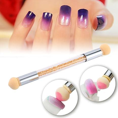 Pawaca Nail Art Cepillo,Cepillo de uñas para manicura de uñas con doble punta y