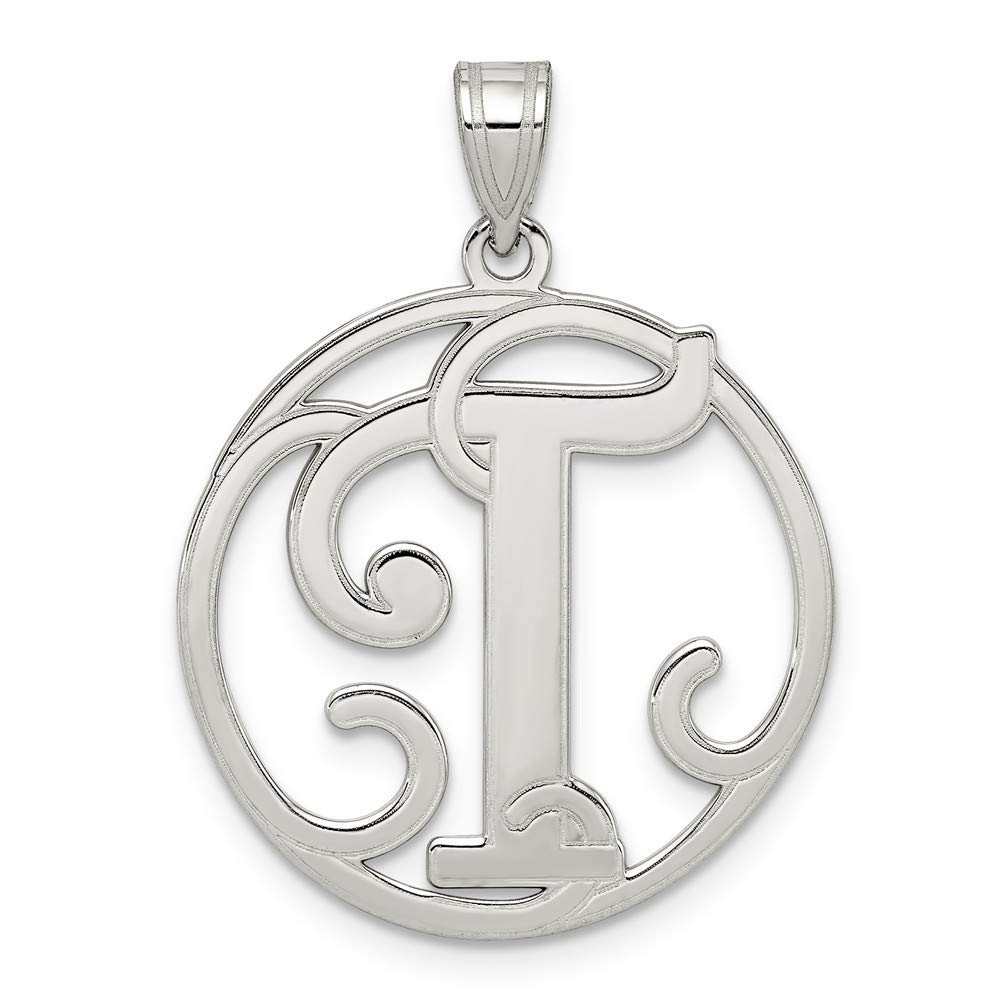 Solid 925 Sterling Silver Initial T Pendant