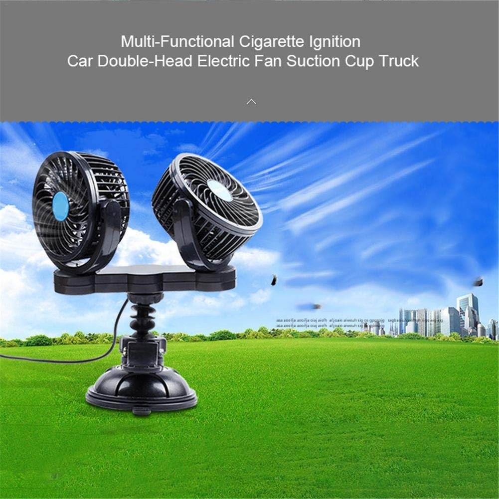 Jannyshop 12V//S Coche Multifuncional Cami/ón con Ventosa de Encendido de Doble Cabezal para Ventilador de Cigarrillos con Cabezal Giratorio de 360 /°