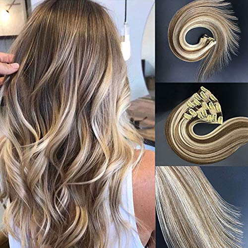 Vowinlle Clip in Hair Extensions Human Hair Light Brown and Bleach Blonde Highlights Silky Straight Weft Remy Real Hair 22Inch P8/613 7 Pieces 110g (Turquoise Extensions Human Hair)