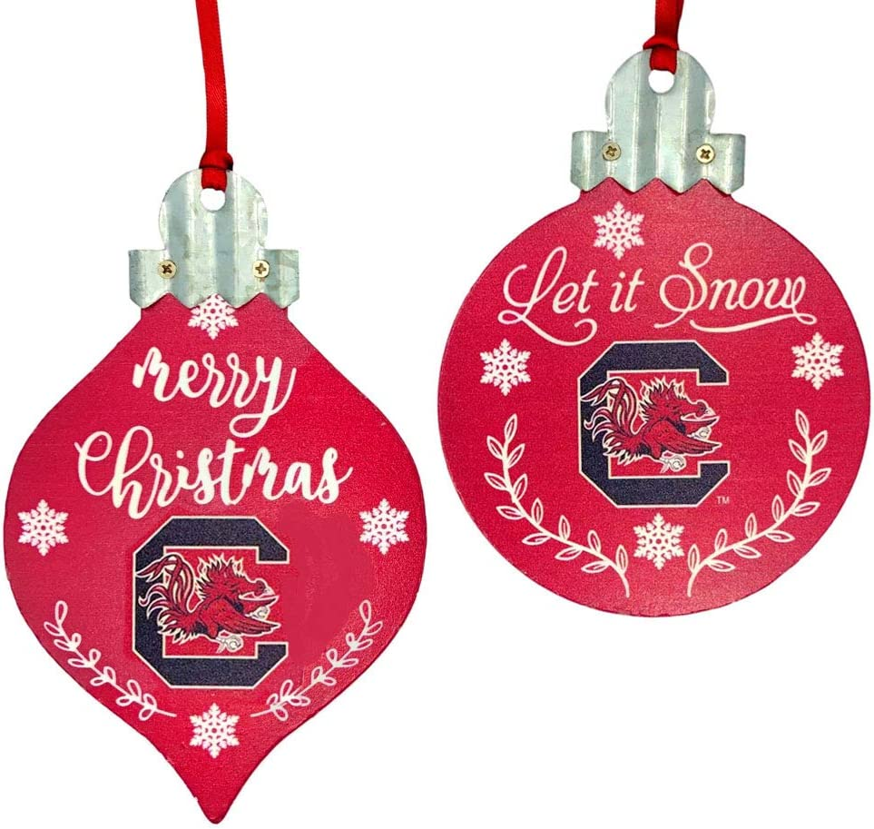 Officially Licensed University of South Carolina Collegiate Holiday Christmas Ornament Decoration Set - 2 Piece Bundle