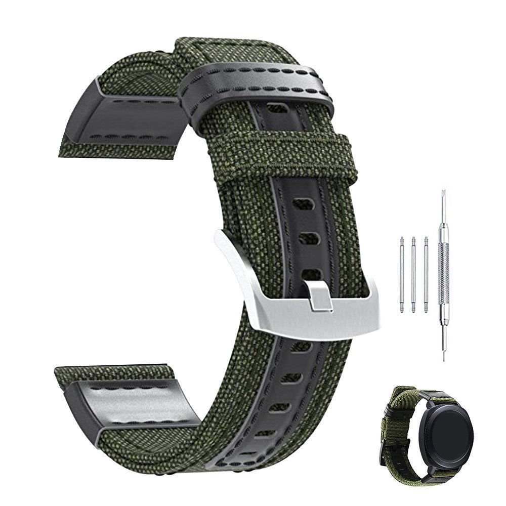 Premium Nylon NATO Canvas Fabric Replacement Watch Bands Canvas Watch Band Military Army Men Women - 20mm, 22mm, 24mm Green (Green 20mm)