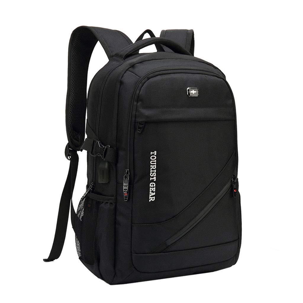 ノートパソコンのバックパック、ビジネススクールの防水バッグ多機能USB充電レジャー旅行バッグ トラベルバッグ カラー:ブラック、サイズ:M B07PPN5B89
