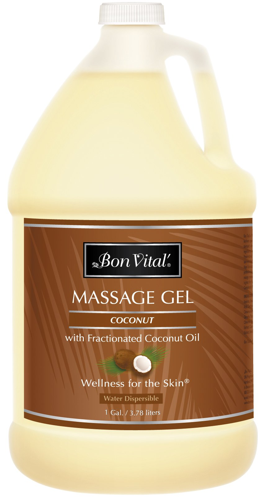 Bon Vital' Coconut Massage Gel Made with 100% Pure Fractionated Coconut Oil, Great for At-Home Use in Relaxing Back Massages & Neck Massages, Moisturizes Skin Without Clogging Pores,1 Gallon Bottle