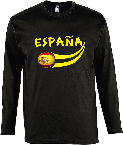 Supportershop – Manga Larga Camiseta LS Hombre España fútbol Negro ...