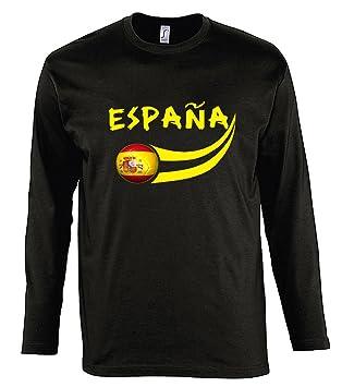 Supportershop Manga Larga Camiseta LS Hombre España fútbol negro, T-shirt manches longues Espagne