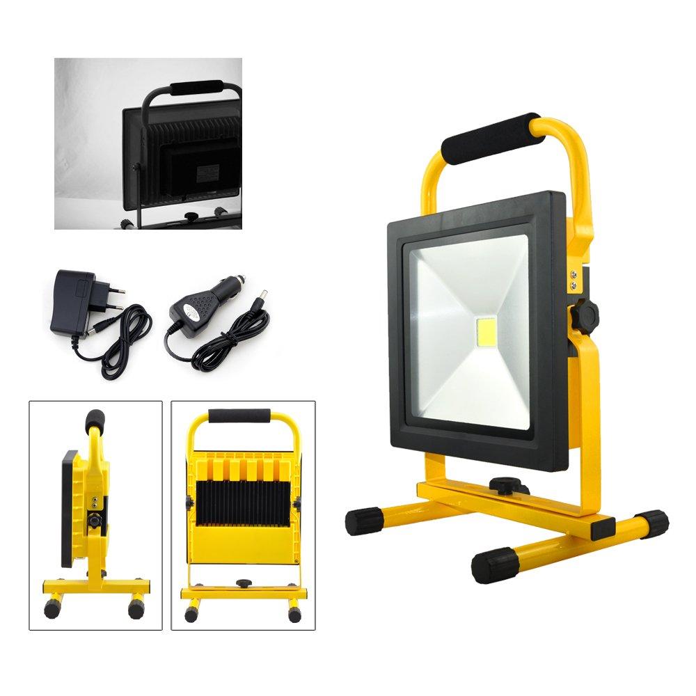 VINGO® 10W LED Batería recargable Proyector Luz de trabajo recargable Warmwhite Handlamp IP65 [Energy Class A ++] [Clase de eficiencia energética A++] fsders