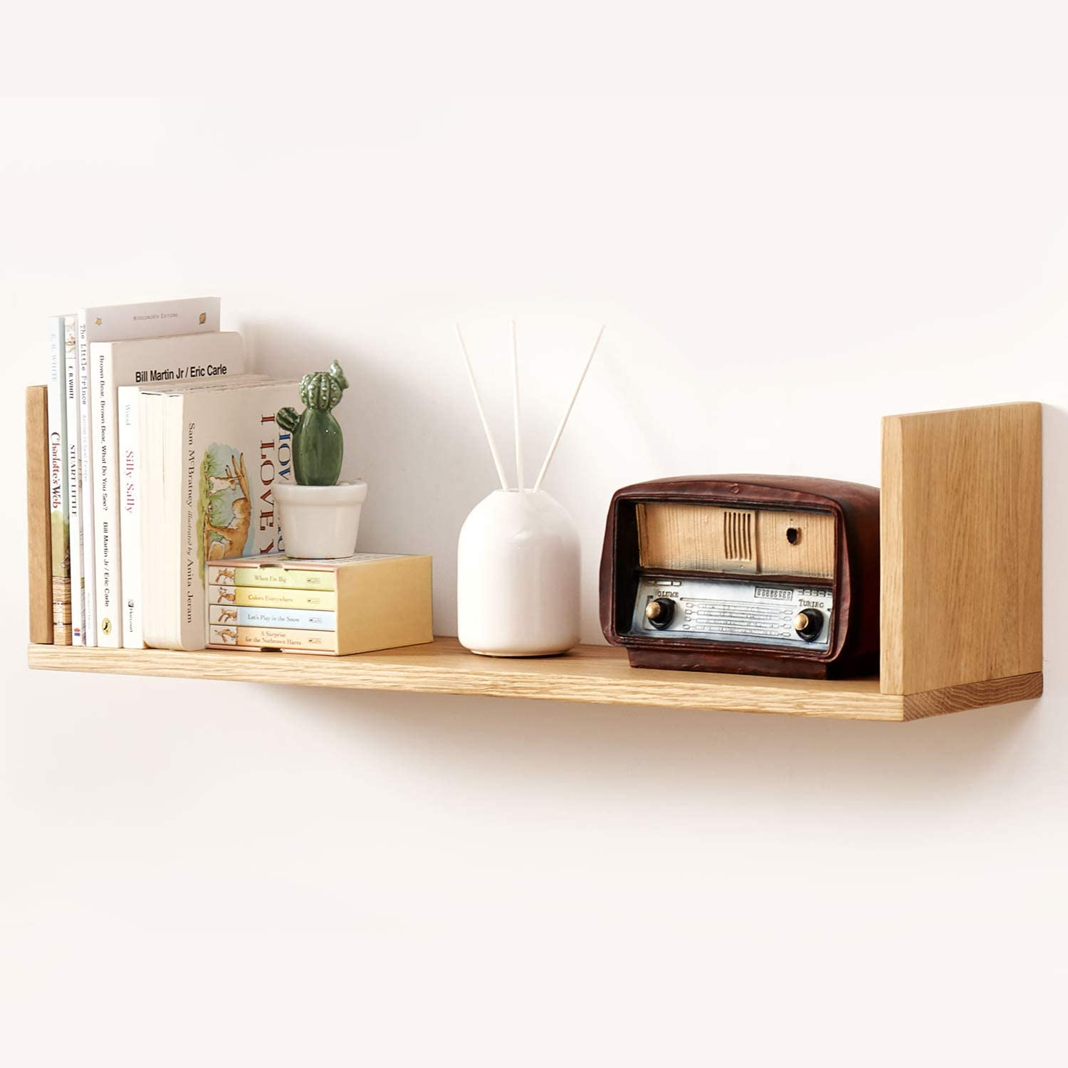 Rustic Wooden Floating Shelves Solid Wall Wood Hanging Shelf