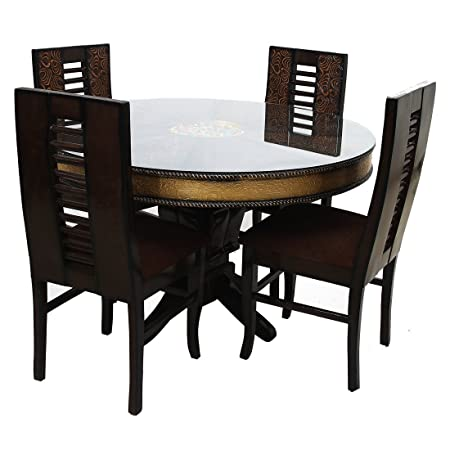Look In Furniture Wood Flora Round Table Dining Set with 4 Chairs, 48x48x30inch (Walnut)
