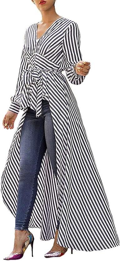 Asymmetrical knitting Striped Top Tunic Dress