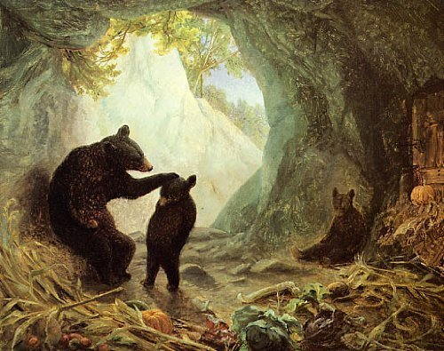 Art Giclee Matte (MOTHER BEARS CARE BABY BEAR PRINT BY WILLIAM HOLBROOK BEARD REPRO)