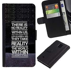 EuroCase - Samsung Galaxy Note 4 SM-N910 - There Is No Reality Deep Message - Cuero PU Delgado caso cubierta Shell Armor Funda Case Cover