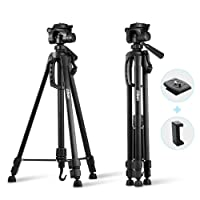 "Albott Camera Tripod 55"" 140cm Aluminum Lightweight Travel Portable Tripod with 3-Way Head, Tripod Bag, Phone Clip and Spare 1/4"" Quick Release Plate for Camera Dslr Mobile"