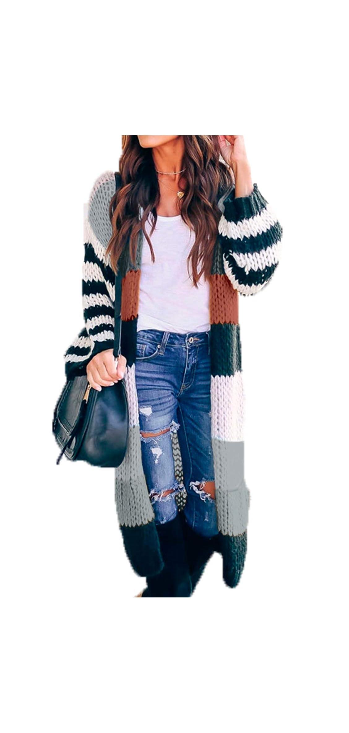 Womens Elegant Lightweight Sweater Open Front Long