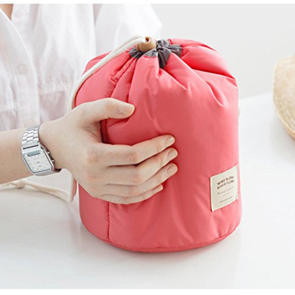 Cosmetic Toiletry Bags Vinmax Travel Makeup Bag Pouch Bucket Barrel Shaped (Pink)