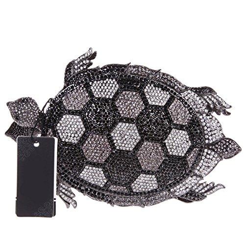 Damen Clutch Abendtasche Handtasche Geldbörse Glitzertasche Strass Kristall Schildkröte Tasche mit wechselbare Trageketten von Santimon(3 Kolorit) Schwarz