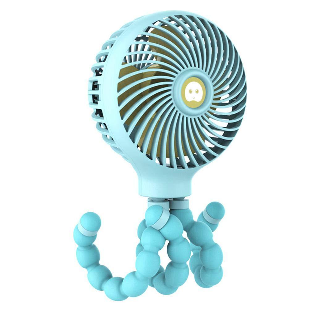 Can Fix auf Stroller//Bed//Bike B/üro Dorm Mini-Handheld Fan Bendable Tripod Octopus Fan Outdoor Toll f/ür Zuhause Clip auf Fan 3 Speeds Settings USB oder Batterie anlegen Baby-Stroller-Fan