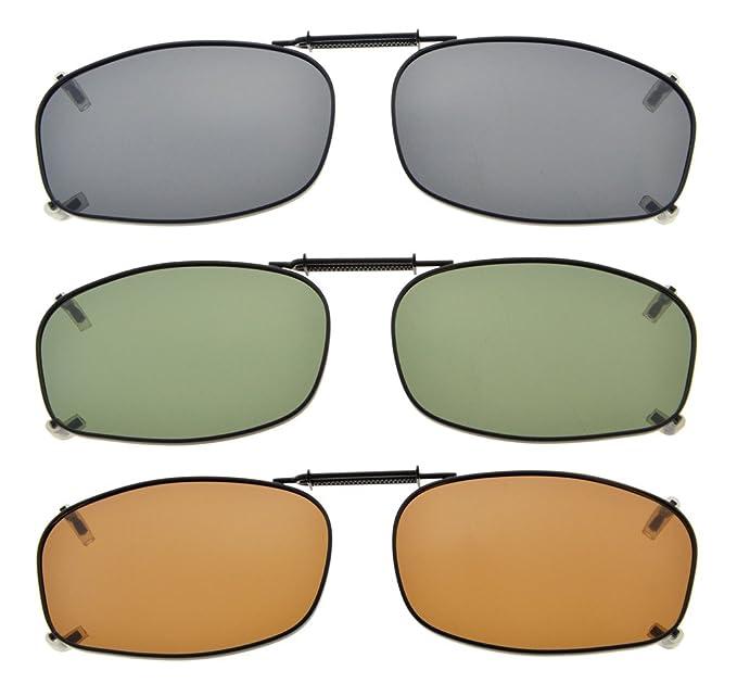 2c6599f2ca766 Eyekepper Gris Marrón G15 lente 3-Pack clip-en gafas de sol polarizadas  52x32MM  Amazon.es  Ropa y accesorios