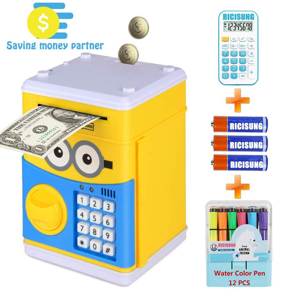 RICISUNG Cartoon Electronic Piggy Bank,ATM Password Money Bank Cash Coin Can Auto Scroll Paper Money for Children Gift Toy (Yellow)