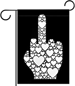 NOAON Welcome Garden Flag Double Sided Middle Finger Vector Icon Made from Small Heart Ic 12x18 Inch Yard Outdoor Decoration
