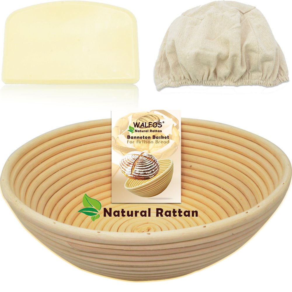 WALFOS 10'' Round Banneton Proofing Basket Set - 100% NATURAL RATTAN French Style Artisan Bread Bakery Basket,Dough Scraper/Cutter & Brotform Cloth Liner Included - For Professional & Home Bakers