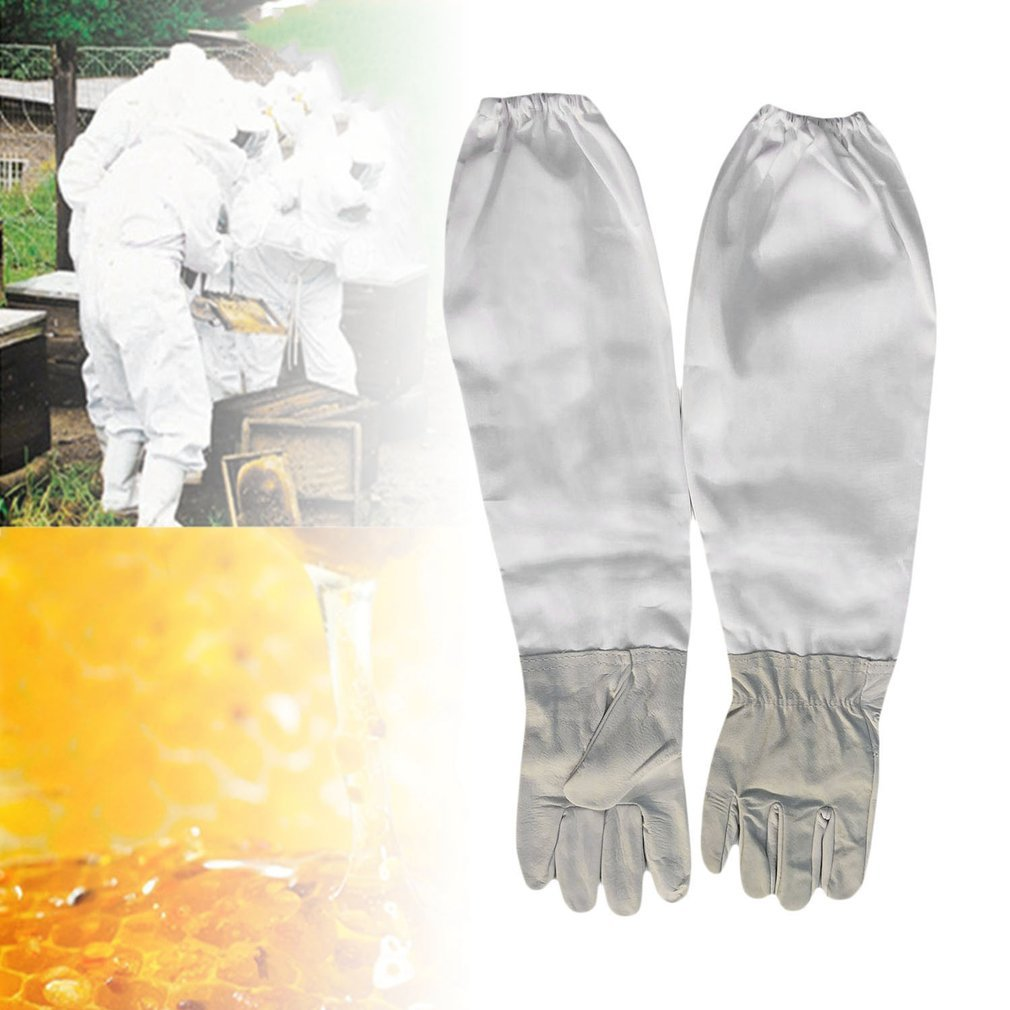 YTYC Elastic Cuffs Leather Long Forest Bee Gloves Sting Proof Beekeeper Tool