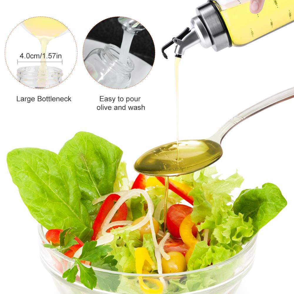 Olive Oil Dispenser Bottle Ninonly 500ml Oil Condiment Container No Drip with Leakproof Pour Spout Salad Dressing Bottle for Vinegar Vinegar Dispensing Cruets for Kitchen and BBQ Soy Sauce