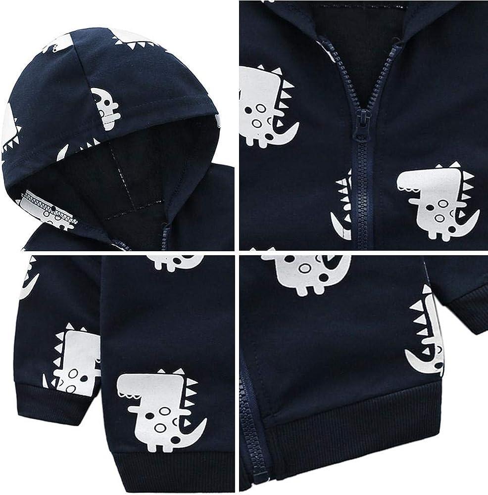 chinatera Baby Boys Cartoon Dinosaur Coat Toddler Warm Hoodies Jacket Cotton Outerwear Fall Spring