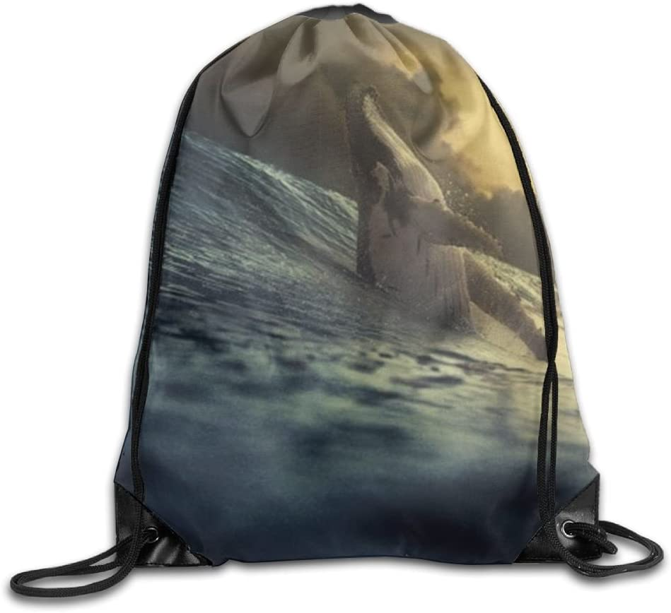 Whale Drawstring Backpack Rucksack Shoulder Bags Training Gym Sack For Man And Women