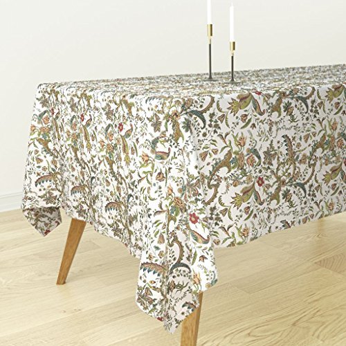 (Roostery Vintage Floral Tablecloth - Antique Floral Home Decor Floral Flowers Damask Ornate Botanical Leaf Victorian Edwardian by Peacoquettedesigns - Cotton Sateen Tablecloth 70 x 108)