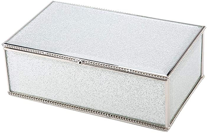 Wal front Joyero de Almacenamiento Rectangular de Cristal con Purpurina Dorada, Caja de joyería, joyero de Almacenamiento: Amazon.es: Hogar