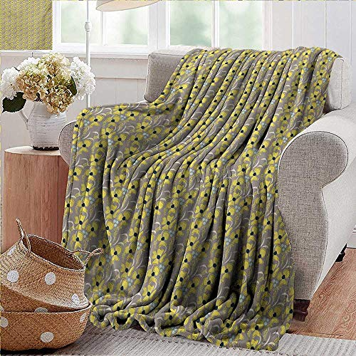 (PearlRolan Flannel Throw Blanket,Taupe,Romantic Lively Meadow Inspired Spring Yard Flowers Feminine Fashion Bouquet,Indigo Yellow Taupe,Winter Luxury Plush Microfiber Fabric 60