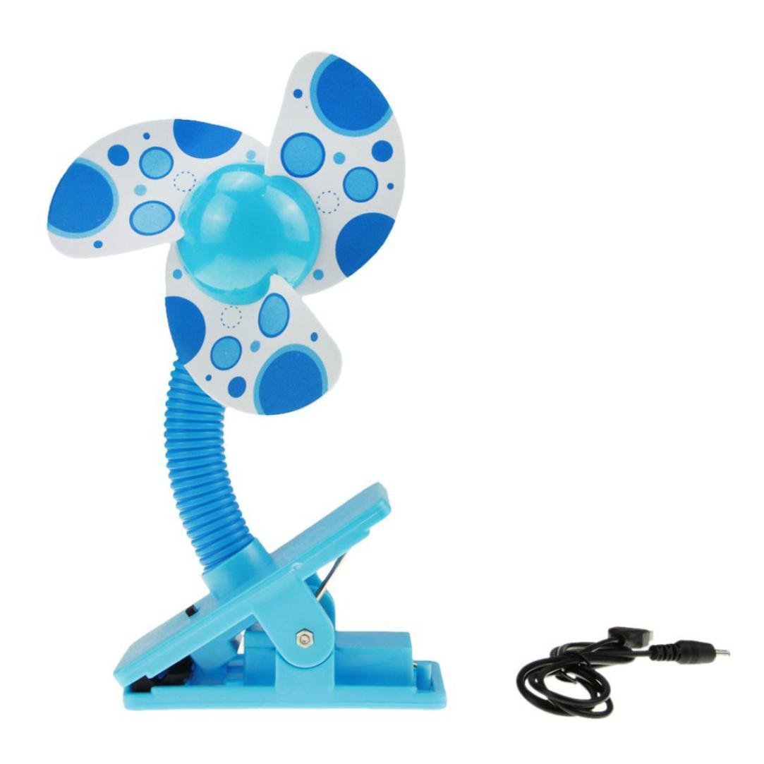 Hunpta@ Mini Air Fan, Mini Portable Safety Clip-on USB Fans For Buggy Baby Pram Stroller Cots Summer (Blue)