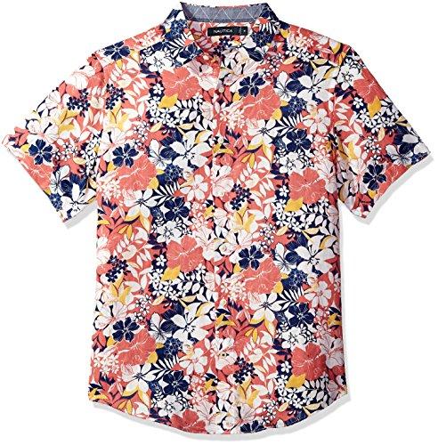 Nautica Men's Short Sleeve Classic Fit Print Linen Button Down Shirt, Spiced Coral, Medium
