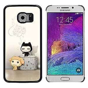 TopCaseStore / la caja del caucho duro de la cubierta de protección de la piel - Cute Cat Friends - Samsung Galaxy S6 EDGE SM-G925