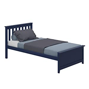 Max & Lily 180210-131 Solid Wood Twin-Size Bed, Blue