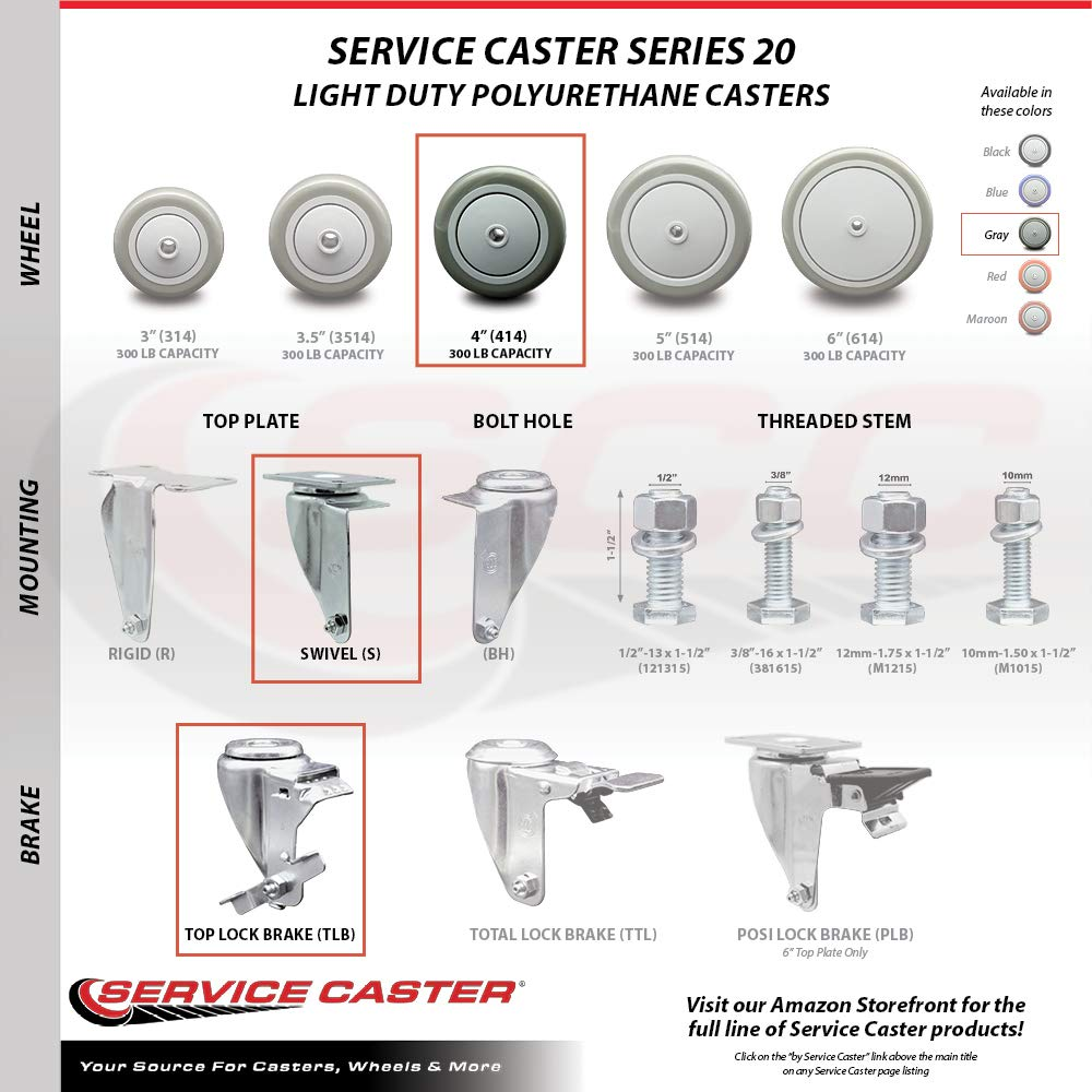 Service Caster – 4'' Gray Polyurethane Wheel – 2 Stainless Steel Swivel and 2 Stainless Steel Swivel Casters w/Brakes by Service Caster (Image #4)