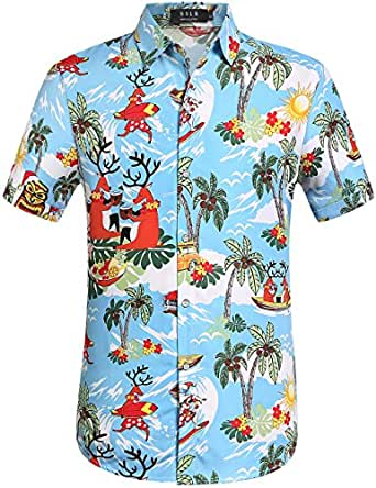 SSLR Men's Christmas Santa Claus Party Casual Hawaiian Aloha Tropical Shirt (Small Blue)