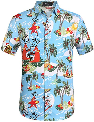 SSLR Men's Santa Claus Party Tropical Ugly Hawaiian Christmas Shirts (Large, Blue) ()