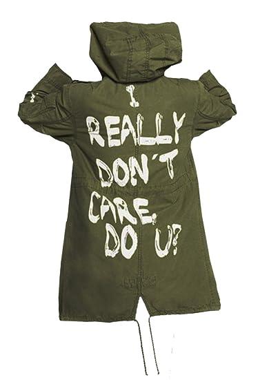 Women/'s Spazeup Melania Trump Mechanic Cargo Hoodie Olive Graffiti Slogan Coat
